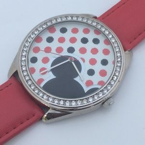 Disney Watch Mickey Mouse Red Leather Band Crystal